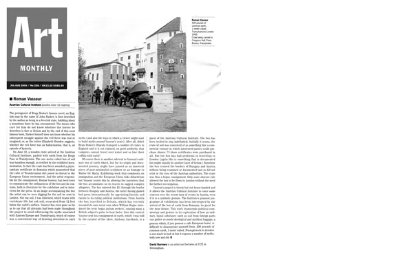 ROMAN VASSEUR, 500 Pounds of Common Earth... Review. Art Monthly. July/Aug. 2000